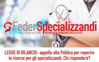 Legge di Bilancio: appello alla Politica per le risorse destinate agli specializzandi